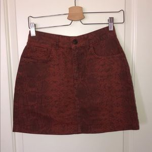 BDG burnt orange snake skin skirt